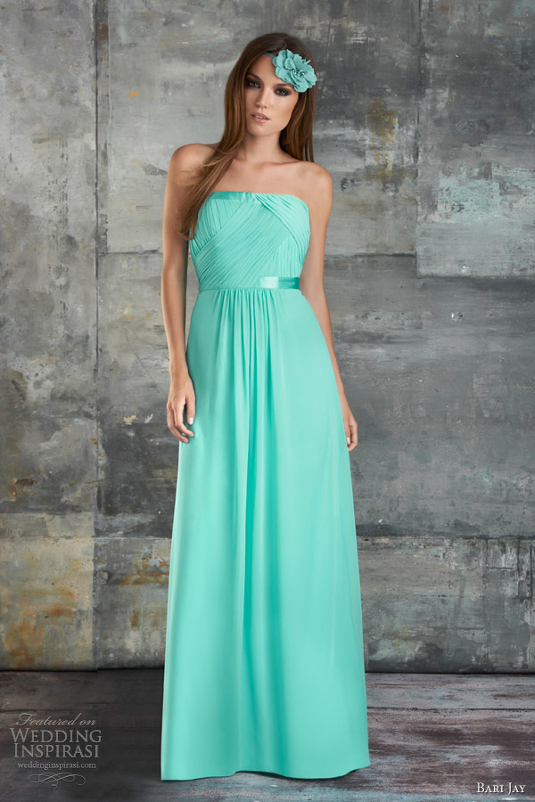 bari jay spring 2013 bridesmaids gowns strapless shirred chiffon gown style 665