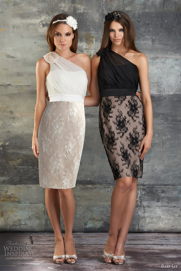 bari jay spring 2013 chiffon lace one shoulder bridesmaids short dresses style 679