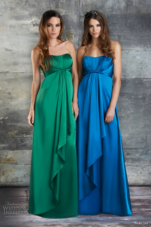 bari jay spring 2013 strapless charmeuse bridesmaid gown style 664, color melon pink