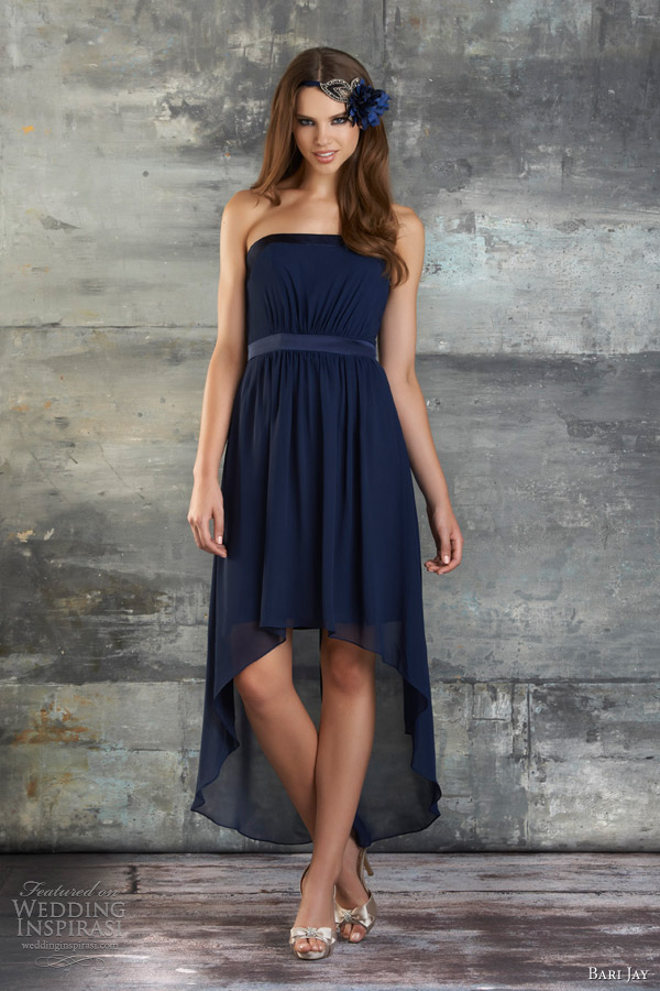 bari jay spring 2013 style 662 strapless chiffon highlow bridesmaid dress