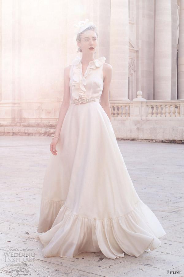 bhldn bridal 2013 caroline sleeveless ruffle neck gown fancy