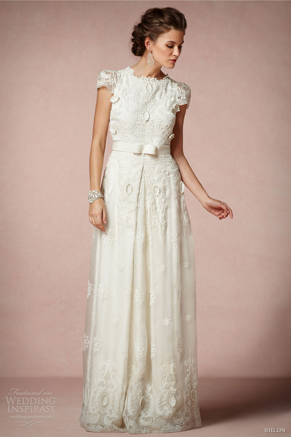 bhldn bridal 2013 rococo wedding dress short puff sleeves collette dinnigan
