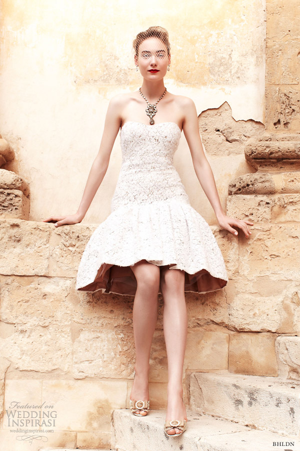 bhldn bridal spring 2013 calla lily strapless short wedding dress badgley mischka