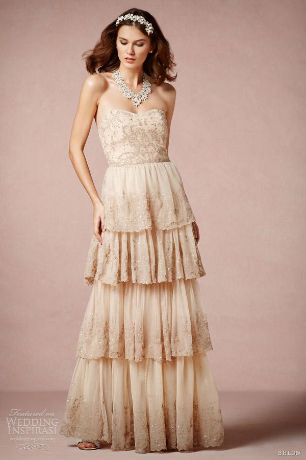 bhldn color wedding dress 2013 bridal rosecliff strapless gown candela