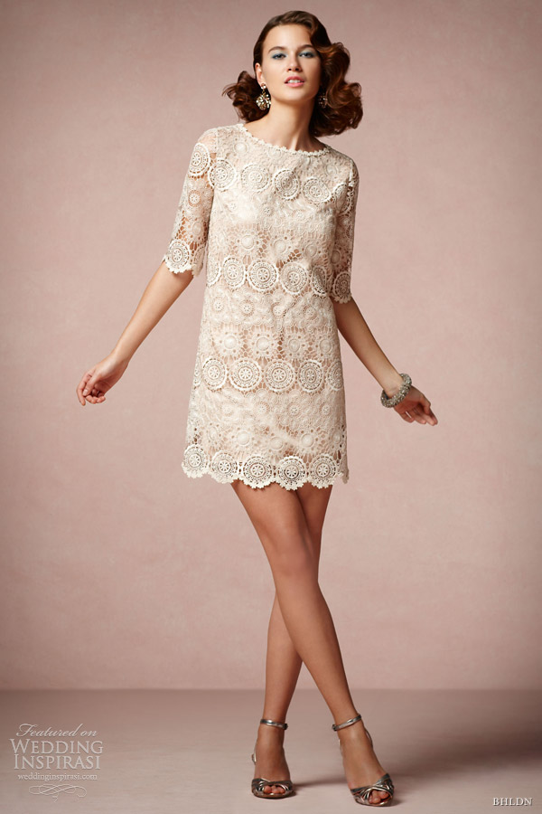 bhldn spring 2013 agata swing short lace wedding dress sleeves va et vien