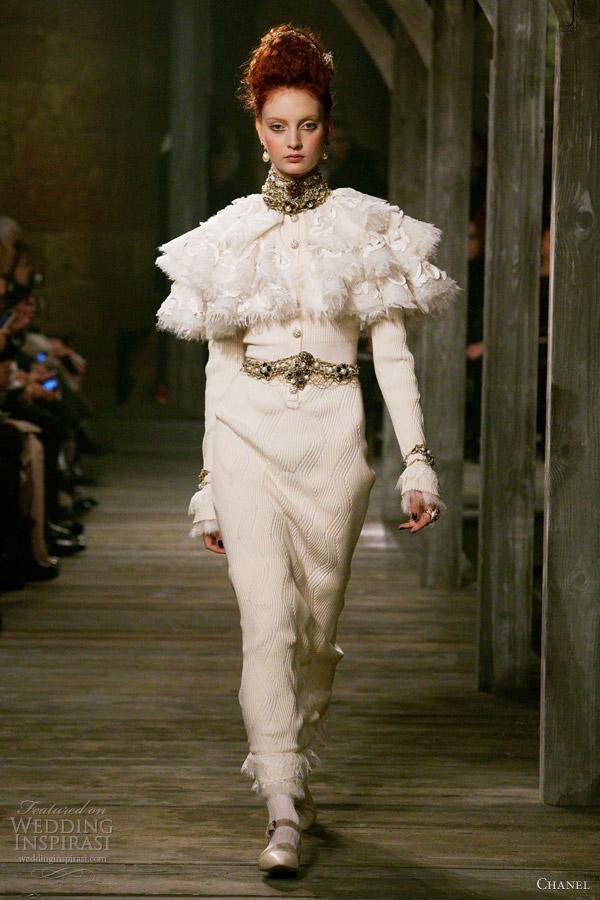 chanel pre fall winter 2013 ready to wear long sleeve white dress