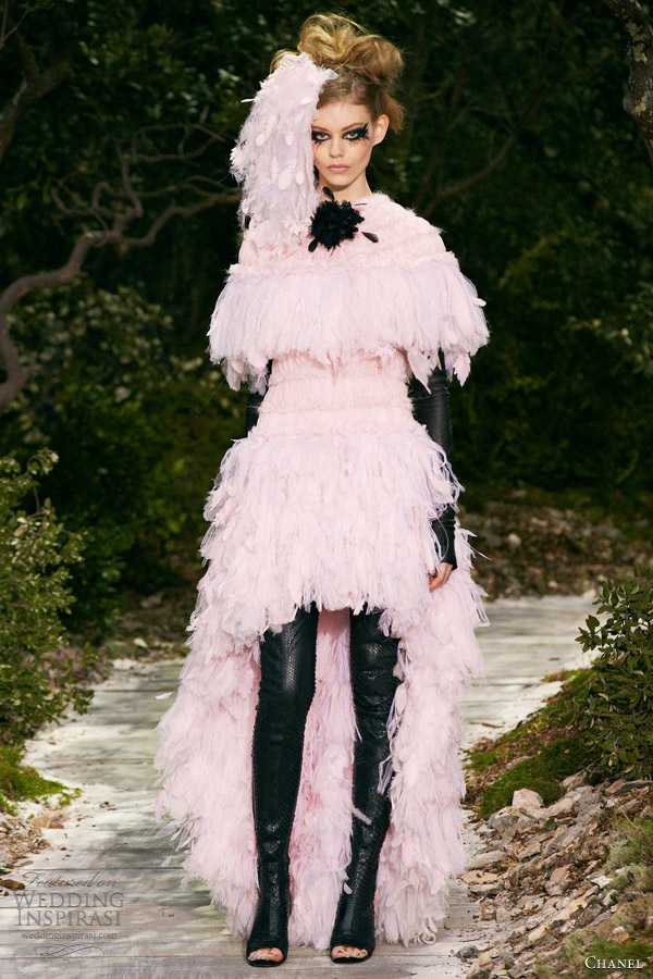 chanel spring 2013 couture pale pink feather dress