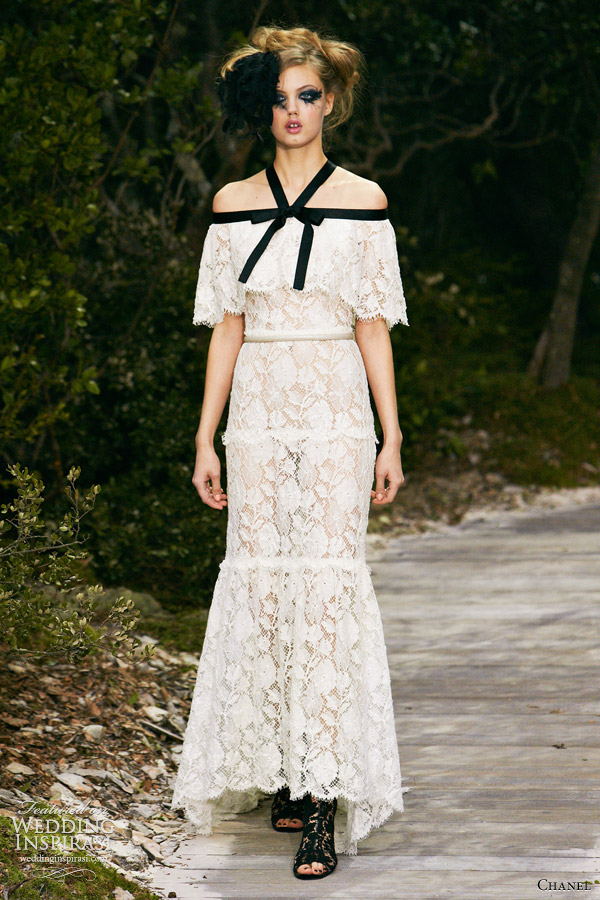 chanel spring 2013 couture white lace dress black straps