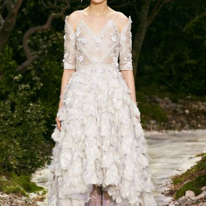 chanel spring summer 2013 couture white wedding dress feather high low skirt
