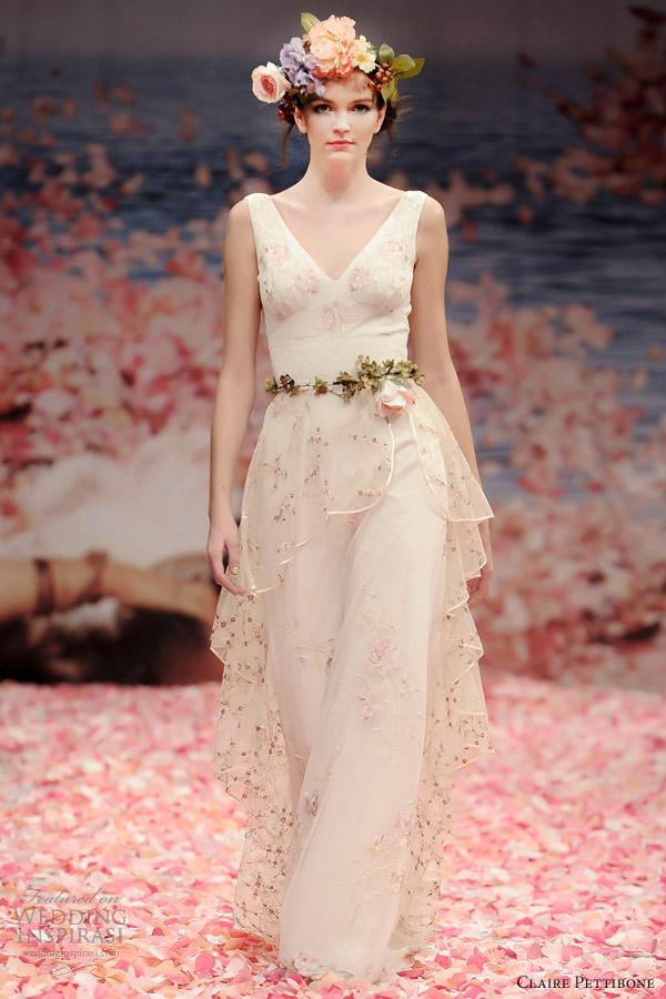 claire pettibone bridal spring 2013 promise sleeveless wedding dress peplum train
