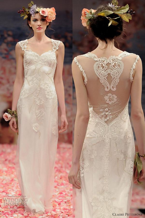 claire pettibone spring 2013 alma sheath wedding dress cap sleeves illusion back