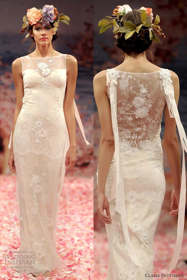 claire pettibone spring 2013 aphrodite sheath sleeveless wedding dress illusion back