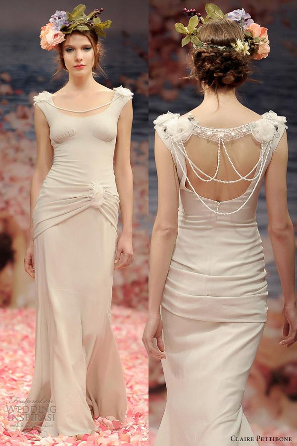 claire pettibone spring 2013 clio sheath wedding dress pearl string back