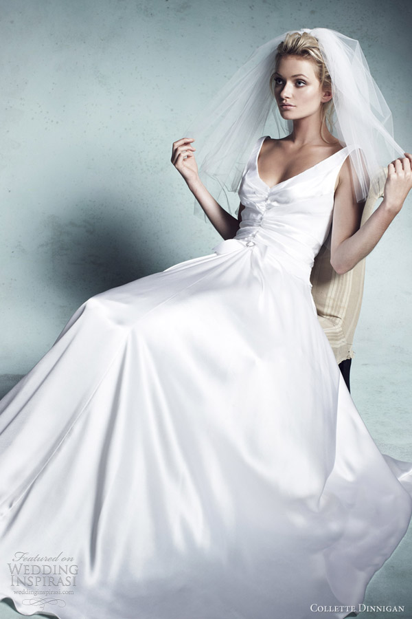 collette dinnigan bridal 2013 chantelle v neck luxe silk satin panelled wedding dress