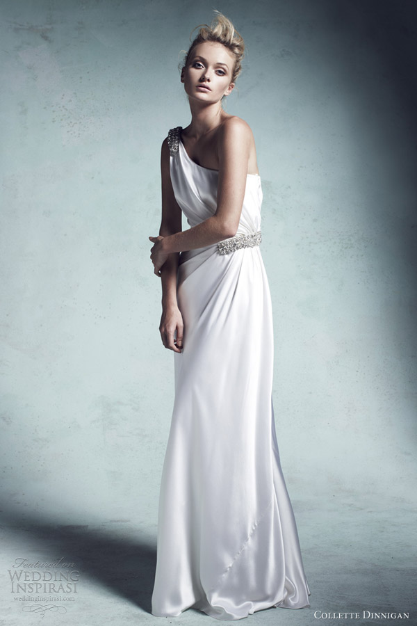 collette dinnigan wedding dresses 2013 olivia silk satin asymmetric embellished gown
