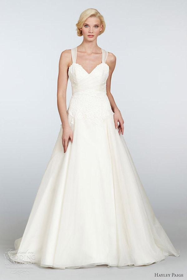 Hayley paige spring 2013 wedding dresses wedding for Sweetheart wedding dress with straps