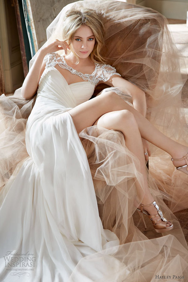 hayley paige wedding dress spring 2013 jordan sheath gown draping peek a boo slit crystal bolero hp6308