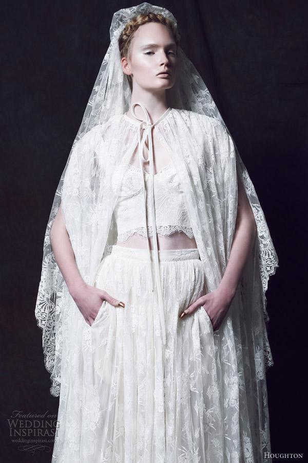 houghton bridal fall 2013 claudette cape tartine bralet lisette skirt french chantilly lace