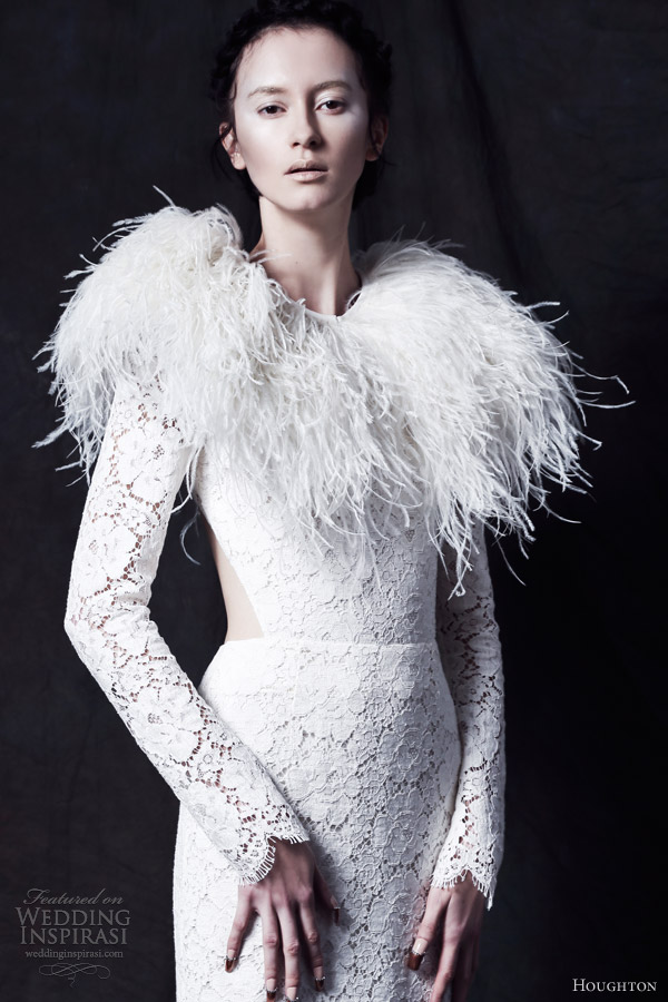 Houghton bride fall 2013 wedding dresses wedding for Wedding dress with ostrich feathers