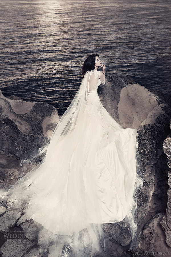 julia kontogruni 2013 bridal wedding dress with illusion sleeves