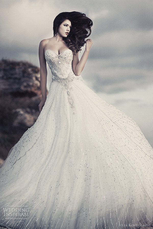 julia kontogruni bridal 2013 crystal strapless wedding dress