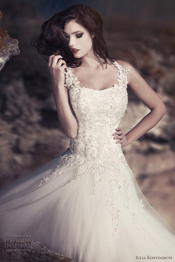 julia kontogruni bridal 2013 wedding dress with straps