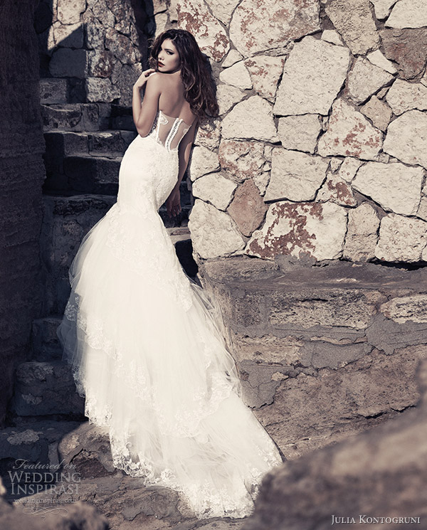julia kontogruni wedding dresses 2013 fit flare gown illusion back