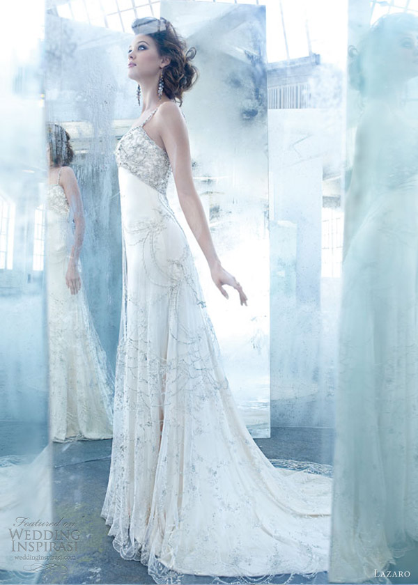lazaro bridal spring 2013 silk charmeuse a line gown embroidered overlay jeweled empire shoulder straps lz 3307