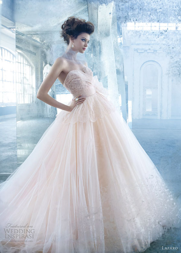 Lazaro Color Wedding Dress Spring 2013 Tulle Ball Gown Lace Draped Bodice Peplum Sweetheart Lz 3300