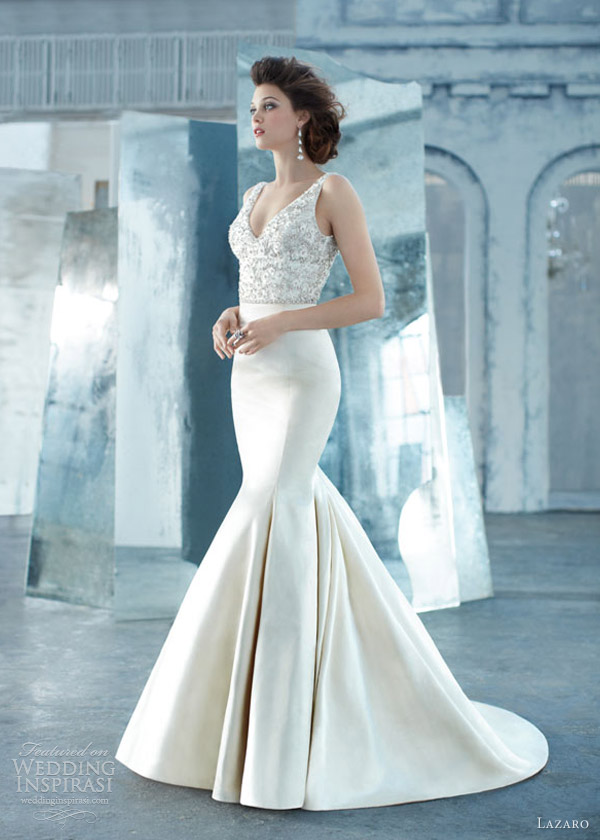 lazaro spring 2013 silk faced satin trumpet wedding dress sheer jewel encrusted v neck crystal lz 3314