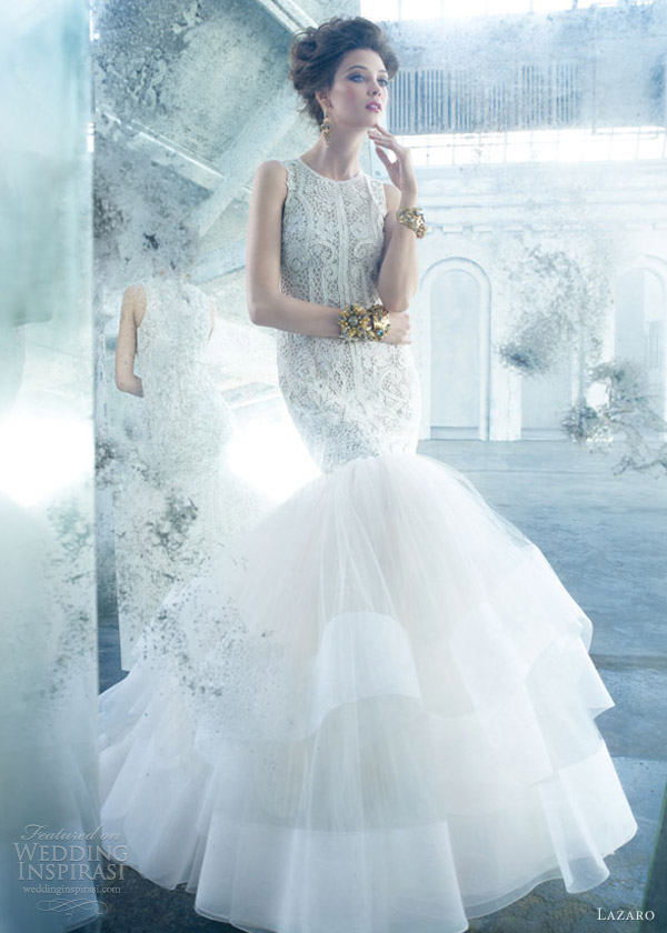 lazaro spring 2013 sleeveless mermaid style lz3301