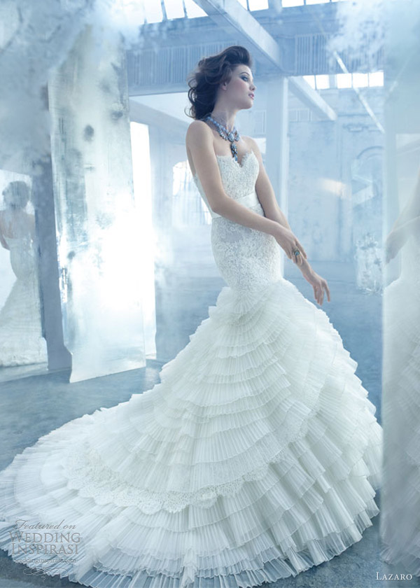lazaro wedding dresses spring 2013 organza alencon lace gown sheer elongated lace sweetheart layered lz 3308