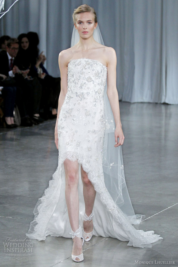 Monique lhuillier fall 2013 wedding dresses wedding for Wedding dress high low