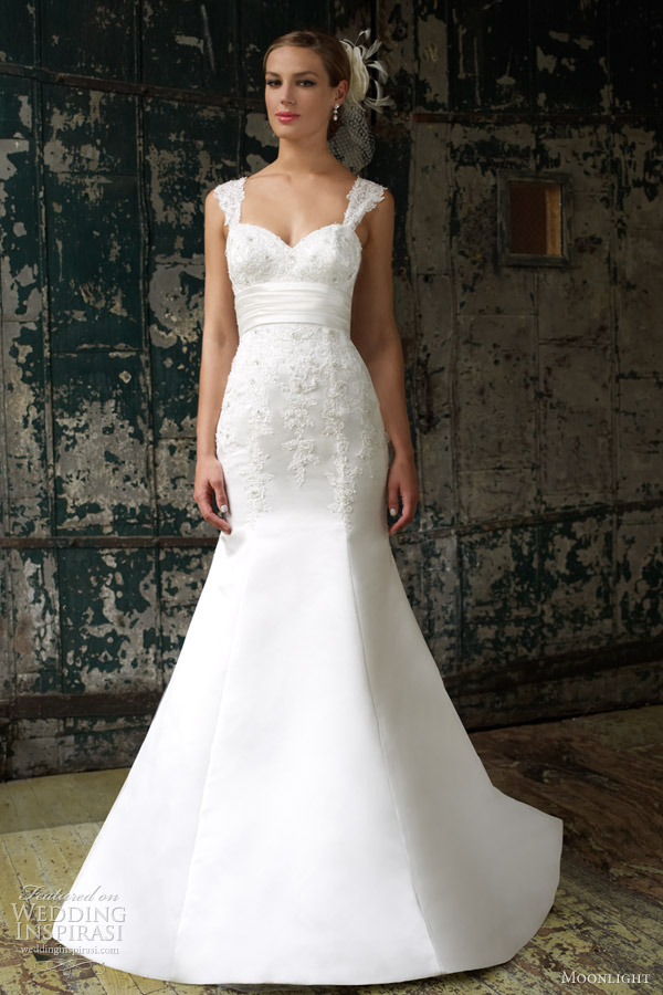 moonlight bridal collection spring 2013 fit flare lace wedding dress straps j6254