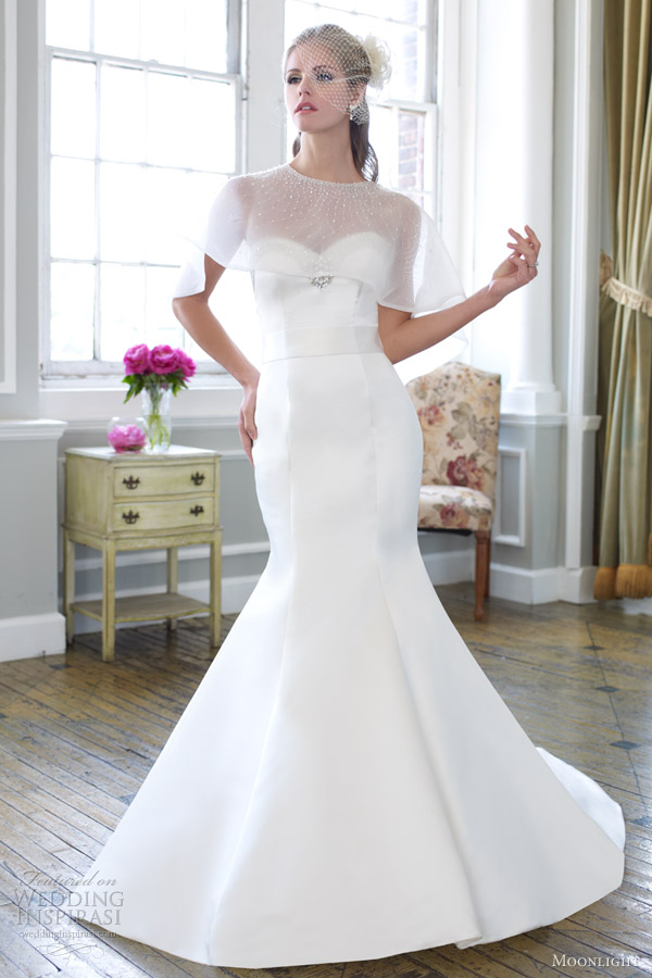22987c49692 moonlight bridal collection spring 2013 strapless mermaid wedding dress  beaded cape j6253