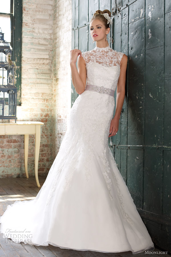 moonlight wedding dresses spring 2013 lace fit flare gown j6263