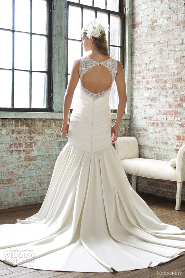 moonlight wedding dresses spring 2013 mermaid gown beaded straps keyhole back train j6262