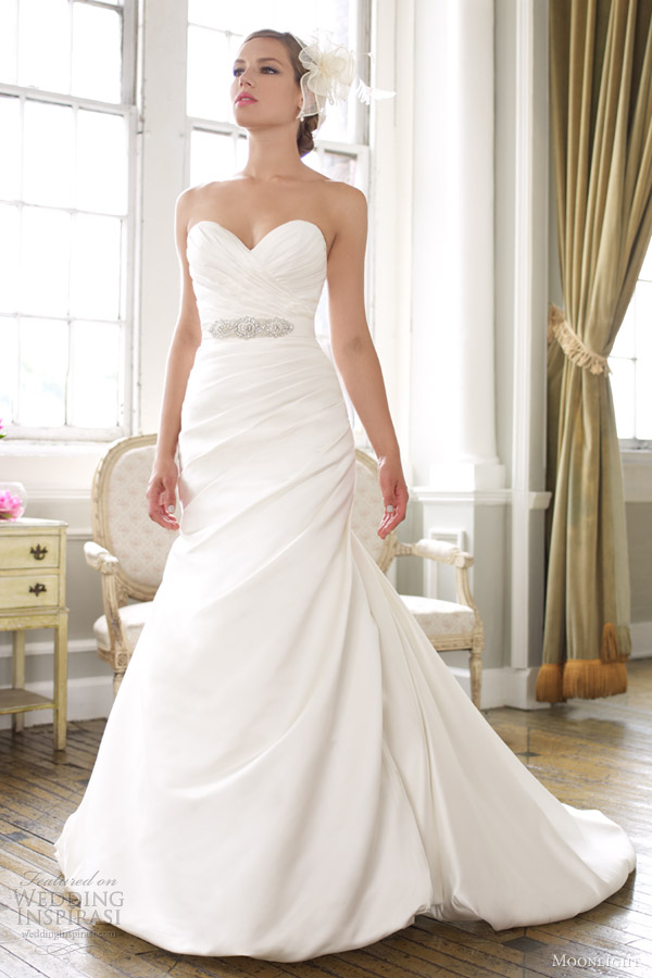 moonlight wedding dresses spring 2013 strapless satin mermaid gown j6255
