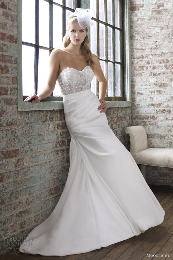 moonlight wedding dresses spring 2013 strapless trumpet gown illusion bodice j6260