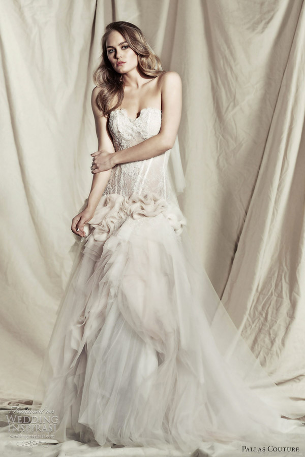 pallas couture 2013 bridal ezrella strapless wedding dress