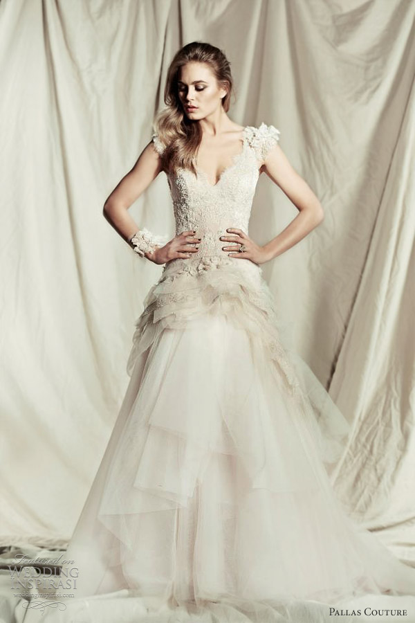 pallas couture 2013 bridal lyzabeth wedding dress straps cap sleeves