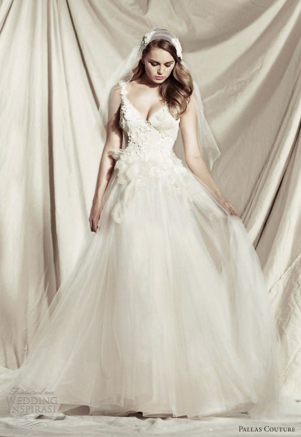 pallas couture 2013 princess amorina sleeveless wedding dress floral straps