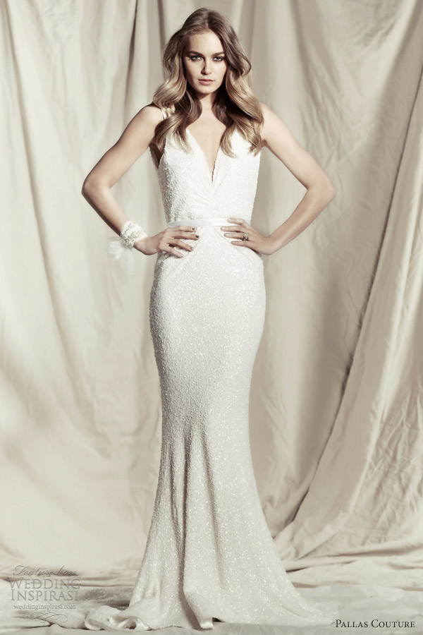 pallas couture wedding dress 2013 tempest v neck sheath wedding gown