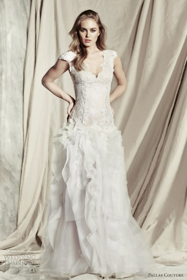 pallas couture wedding dresses 2013 2014 ezeldina cap sleeve bridal gown
