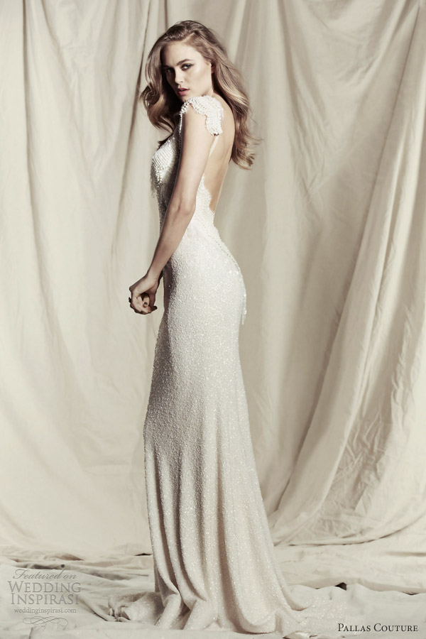 pallas couture wedding dresses 2013 destinee cyril sheath gown cap sleeves low back