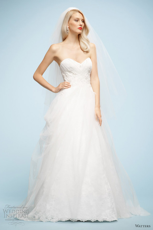 watters brides spring 2013 claudia strapless ball gown