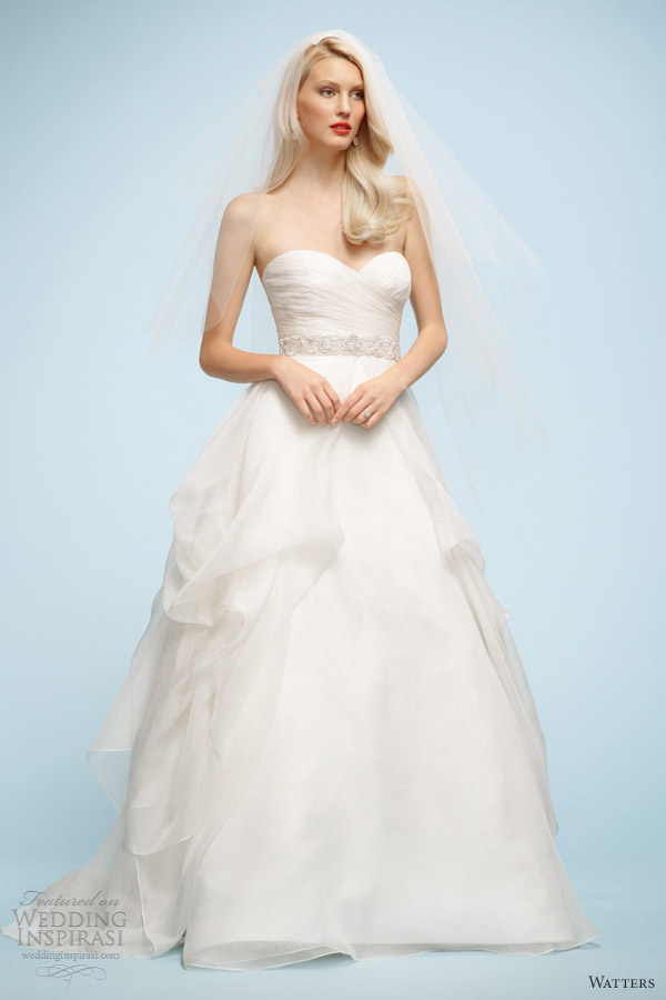 watters spring 2013 bridal jordana strapless wedding dress full skirt