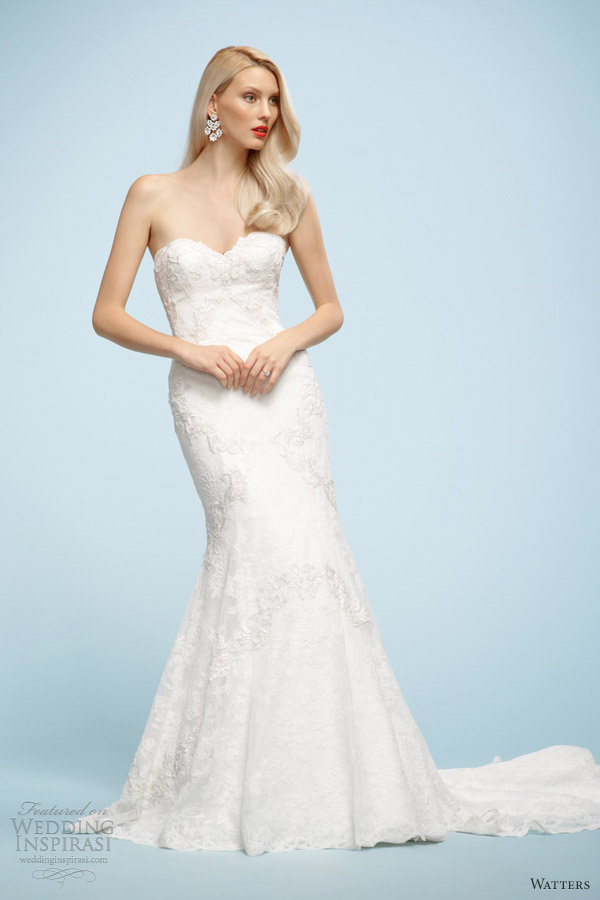 watters wedding dresses spring 2013 fabienne strapless lace gown