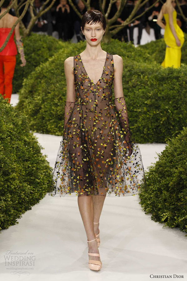 dior spring 2013 couture sleeveless black dress floral