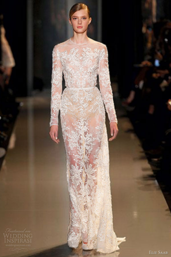 elie saab spring 2013 couture lace long sleeve sheath wedding dress